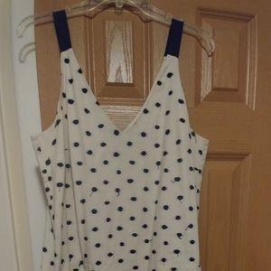 Loft Navy & Cream Tank Dress Sz 12
